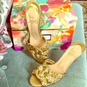 """Christian Louboutin... """"authentic"""" Gold sandals"""